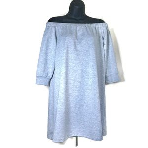 anthro / elodie off the shoulder gray tunic dress